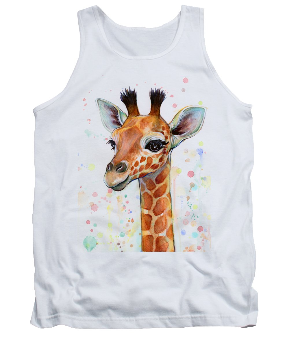 Watercolor Tank Top featuring the painting Baby Giraffe Watercolor by Olga Shvartsur