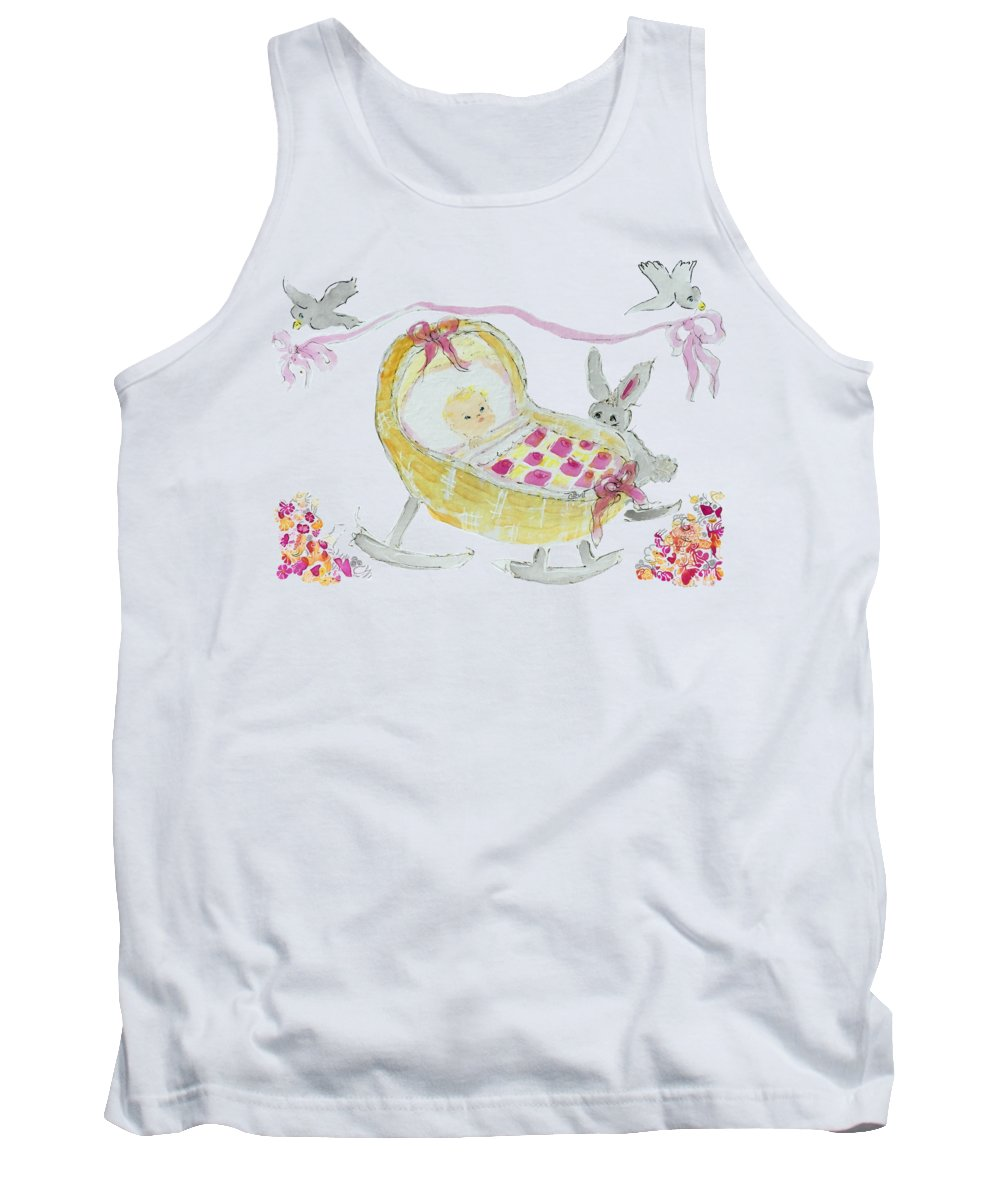 Baby Tank Top featuring the painting Baby Girl With Bunny And Birds by Claire Bull