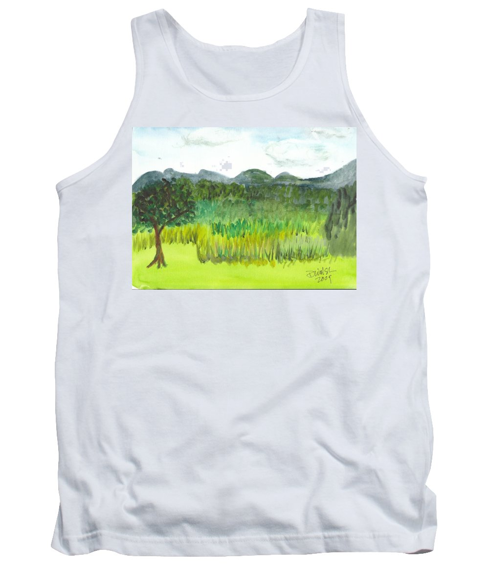 Barton Tank Top featuring the painting Backyard In Barton by Donna Walsh