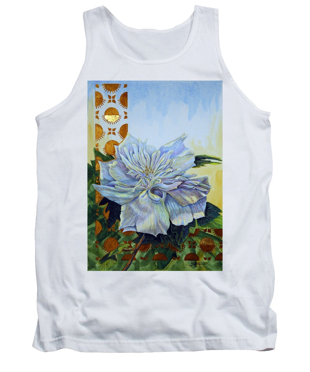 Mixed Media Tank Top featuring the mixed media Backyard Splendor by Suzanne McKee