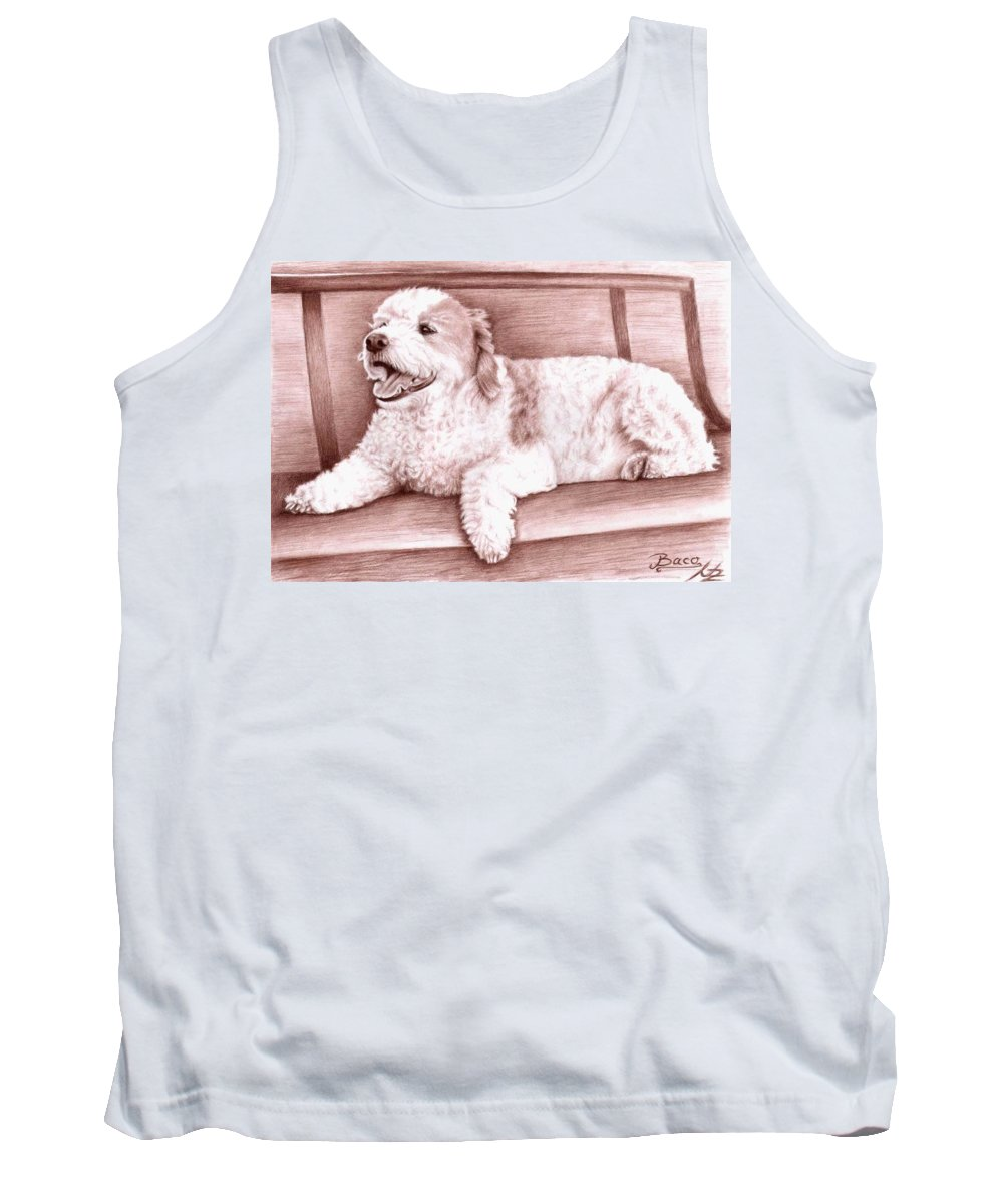 Dog Tank Top featuring the drawing Baco by Nicole Zeug