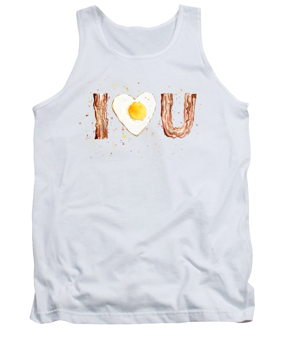 Bacon Tank Top featuring the painting Bacon And Egg Love by Olga Shvartsur