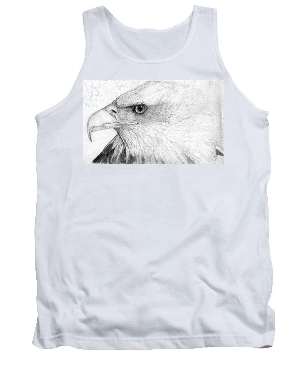 Pencil Drawing Tank Top featuring the drawing Bald Eagle Profile by Lucien Van Oosten