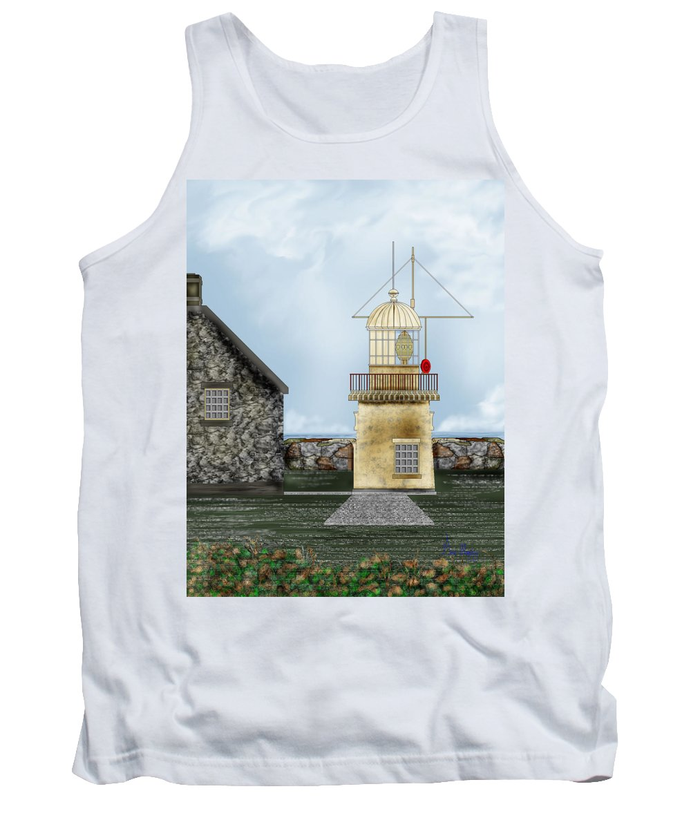 Lighthouse Tank Top featuring the painting Ballinacourty Lighthouse At Waterford Ireland by Anne Norskog