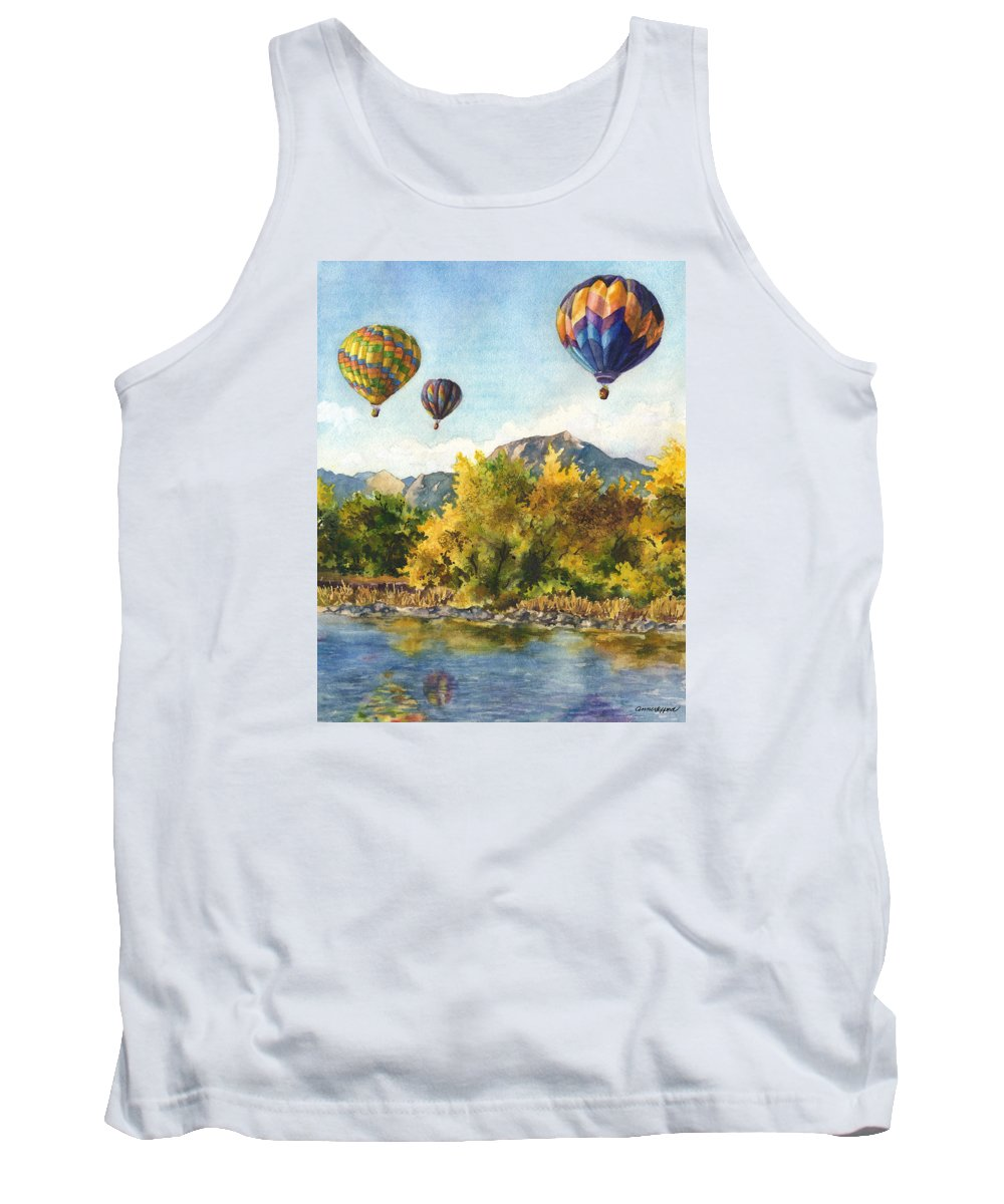 Hot Air Balloons Painting Tank Top featuring the painting Balloons At Twin Lakes by Anne Gifford