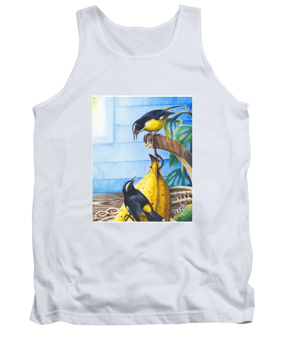 Chris Cox Tank Top featuring the painting Bananaquits And Bananas by Christopher Cox