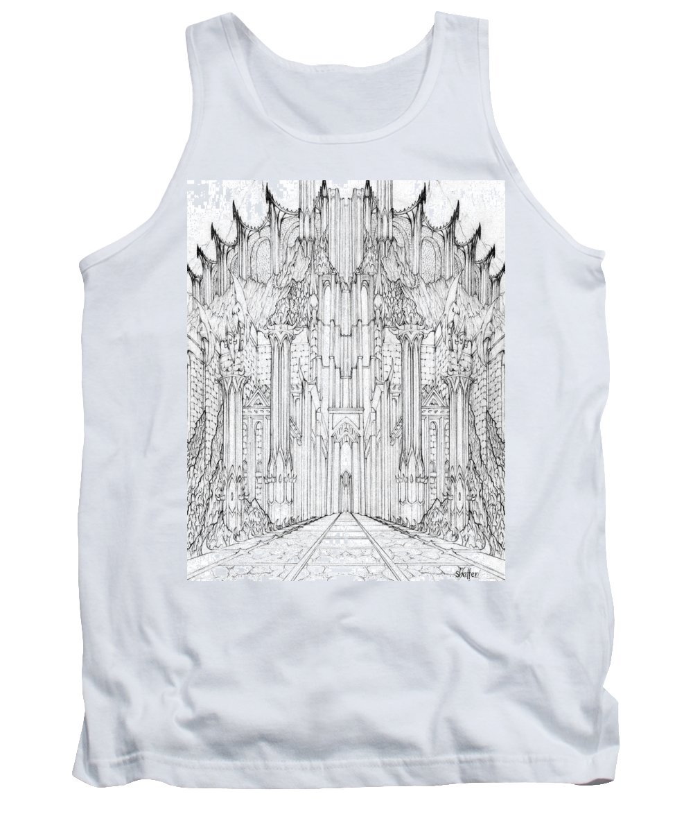 Barad-dur Tank Top featuring the drawing Barad-dur Gate Study by Curtiss Shaffer