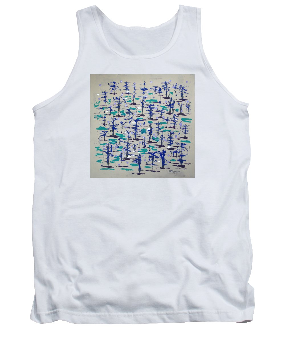Abstract Tank Top featuring the painting Bare Trees by J R Seymour
