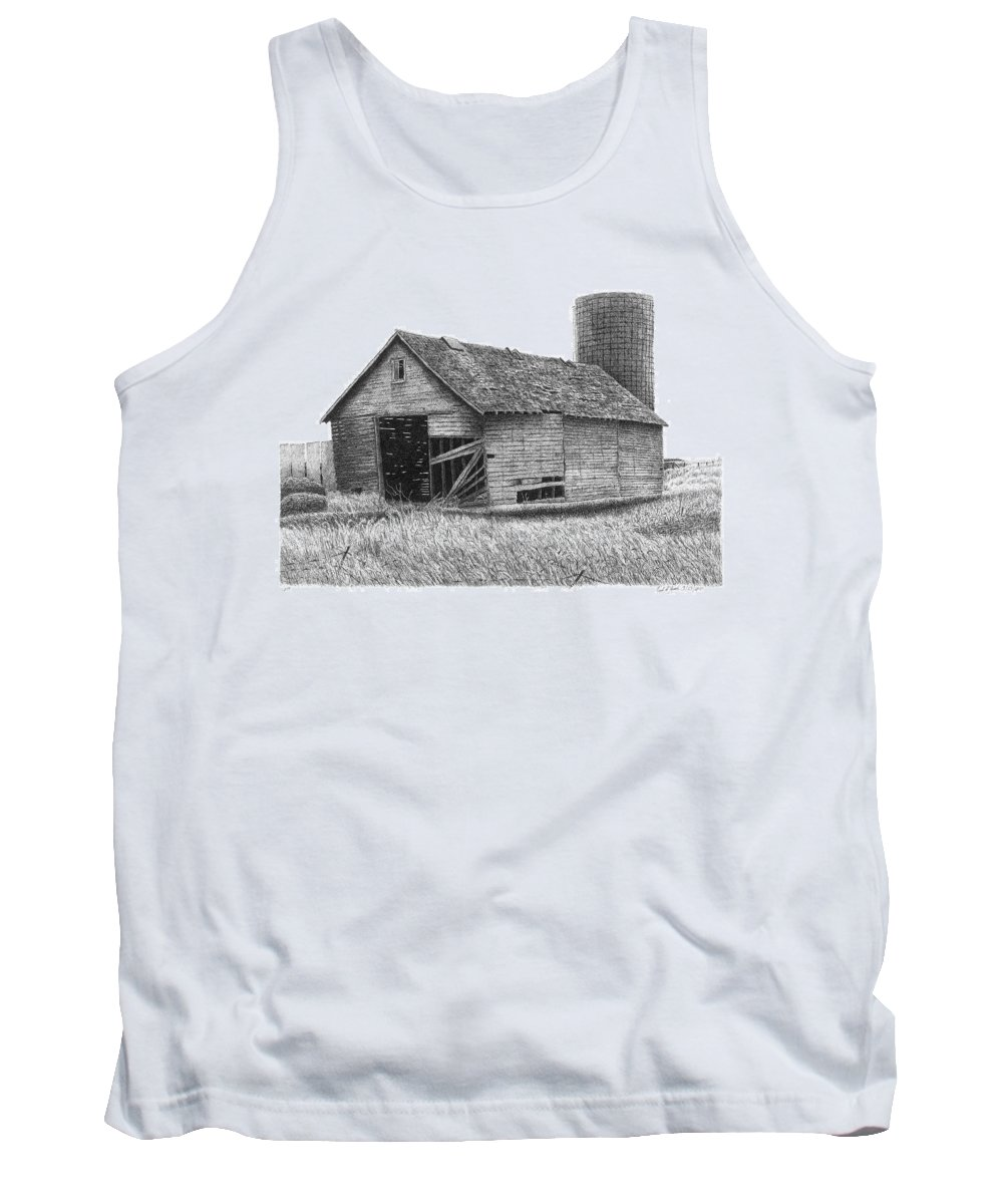 Barn Tank Top featuring the drawing Barn 19 by Joel Lueck