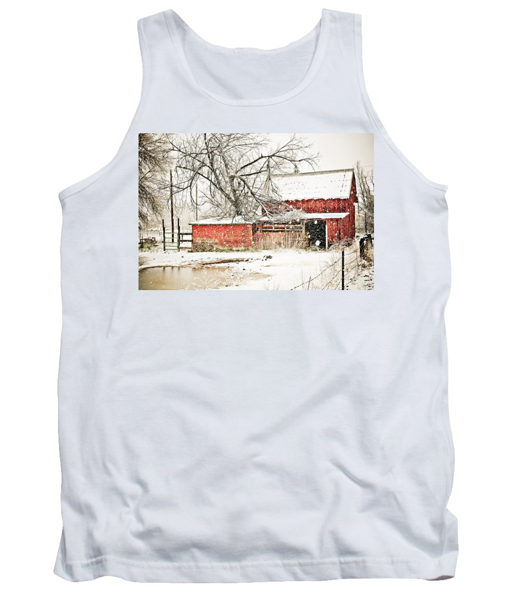 Americana Tank Top featuring the photograph Barn And Pond by Marilyn Hunt