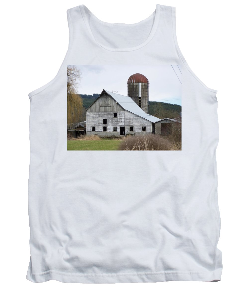 Digital Photography Tank Top featuring the photograph Barn And Silo by Laurie Kidd