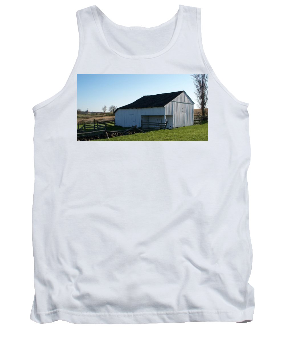 Barn Tank Top featuring the painting Barn Gettysburg Battle Field by Eric Schiabor