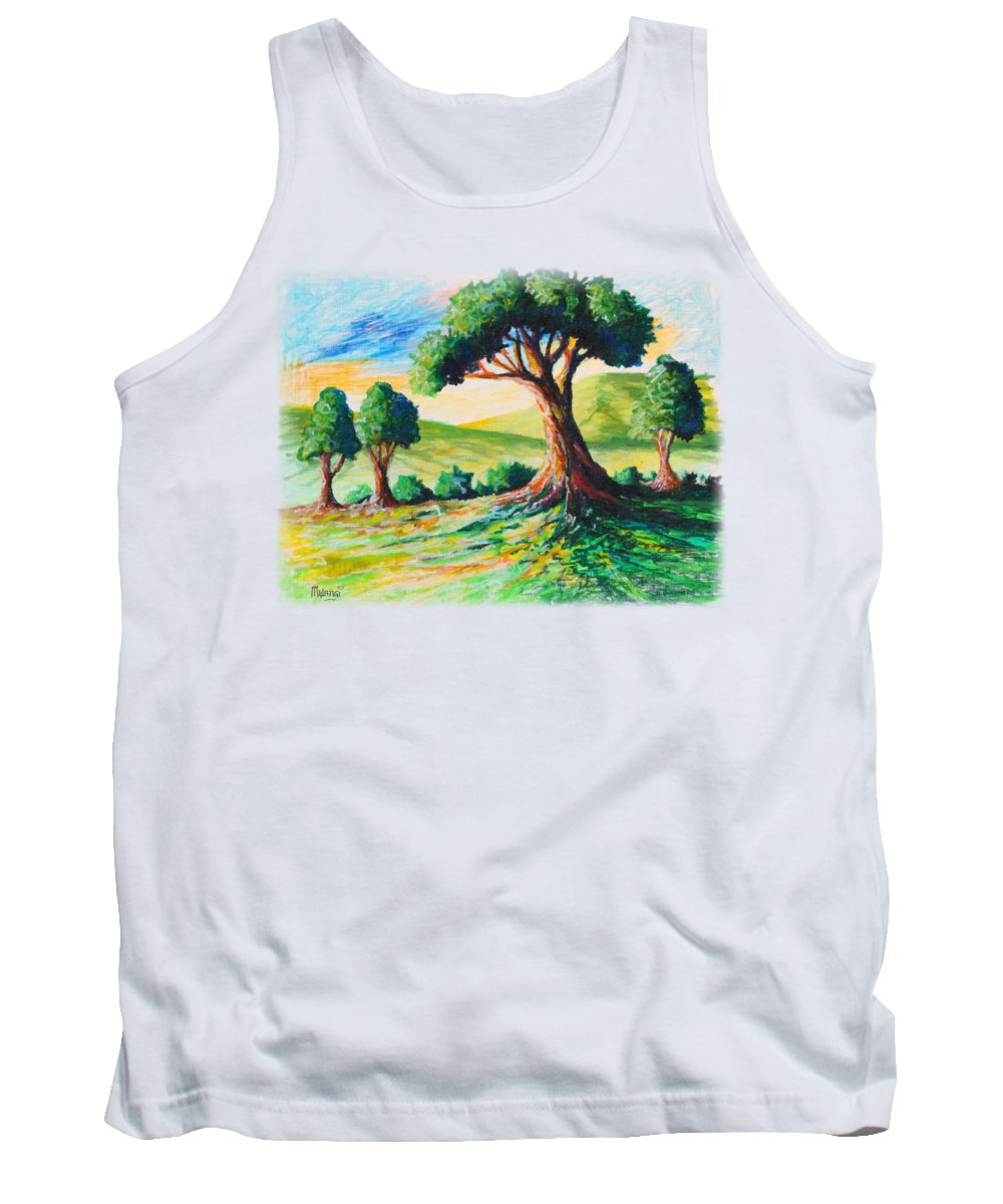 Branches Tank Top featuring the painting Basking In The Sun by Anthony Mwangi