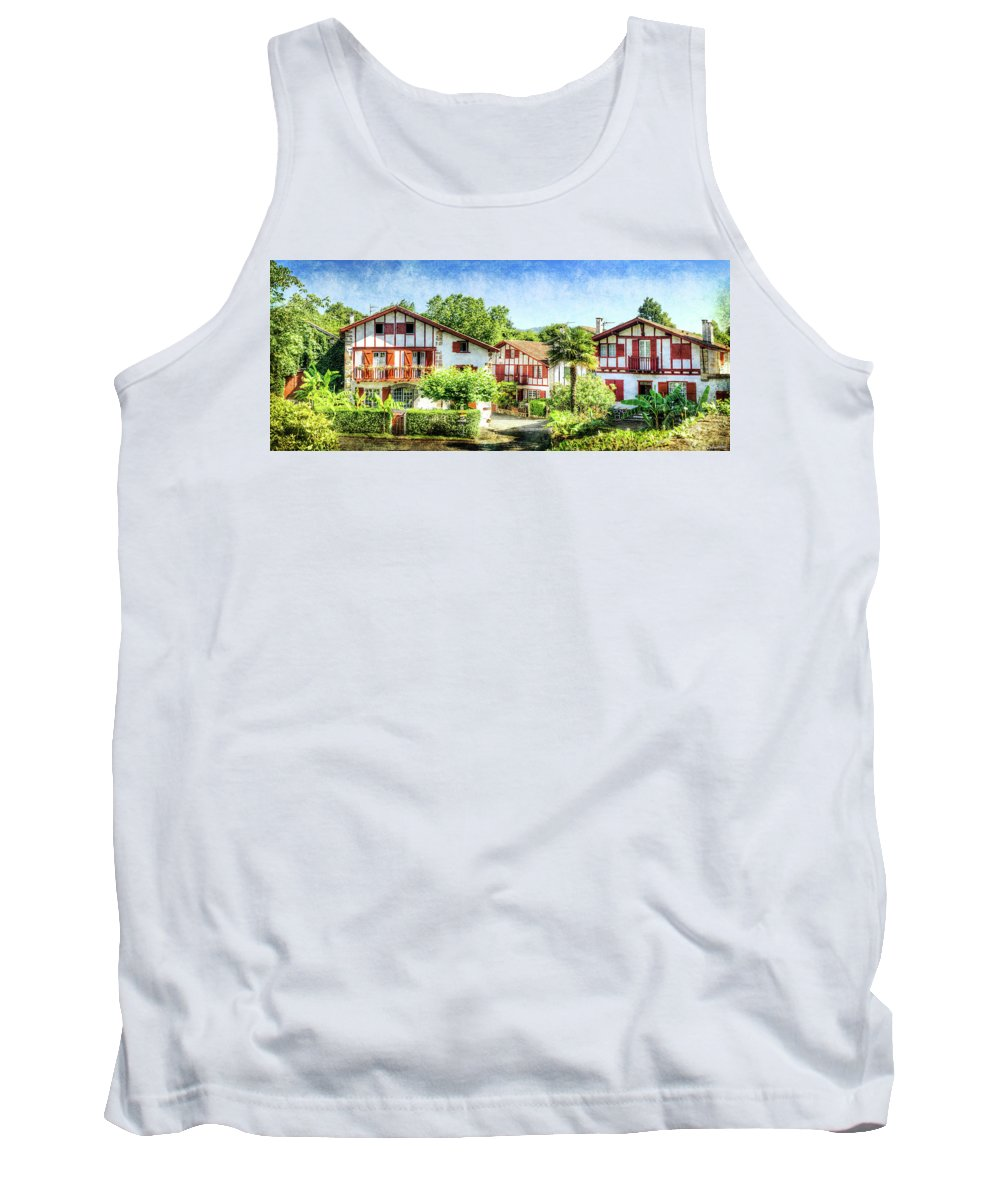 Ainhoa Tank Top featuring the photograph Basque Houses In Ainhoa 2- Vintage Version by Weston Westmoreland