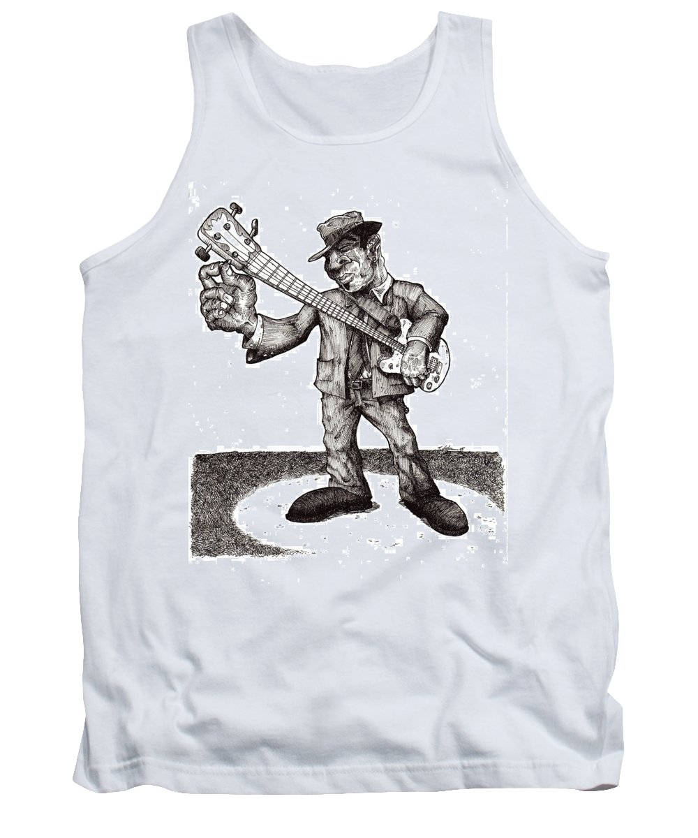 Blues Tank Top featuring the drawing Bass by Tobey Anderson