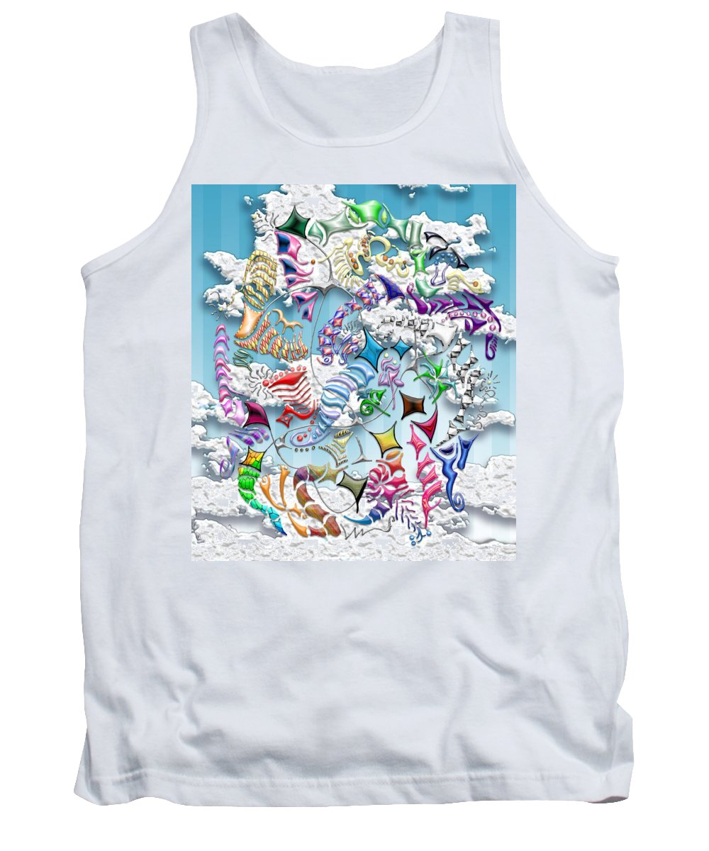 Abstract Tank Top featuring the digital art Battling Kites -- Blue by Mark Sellers