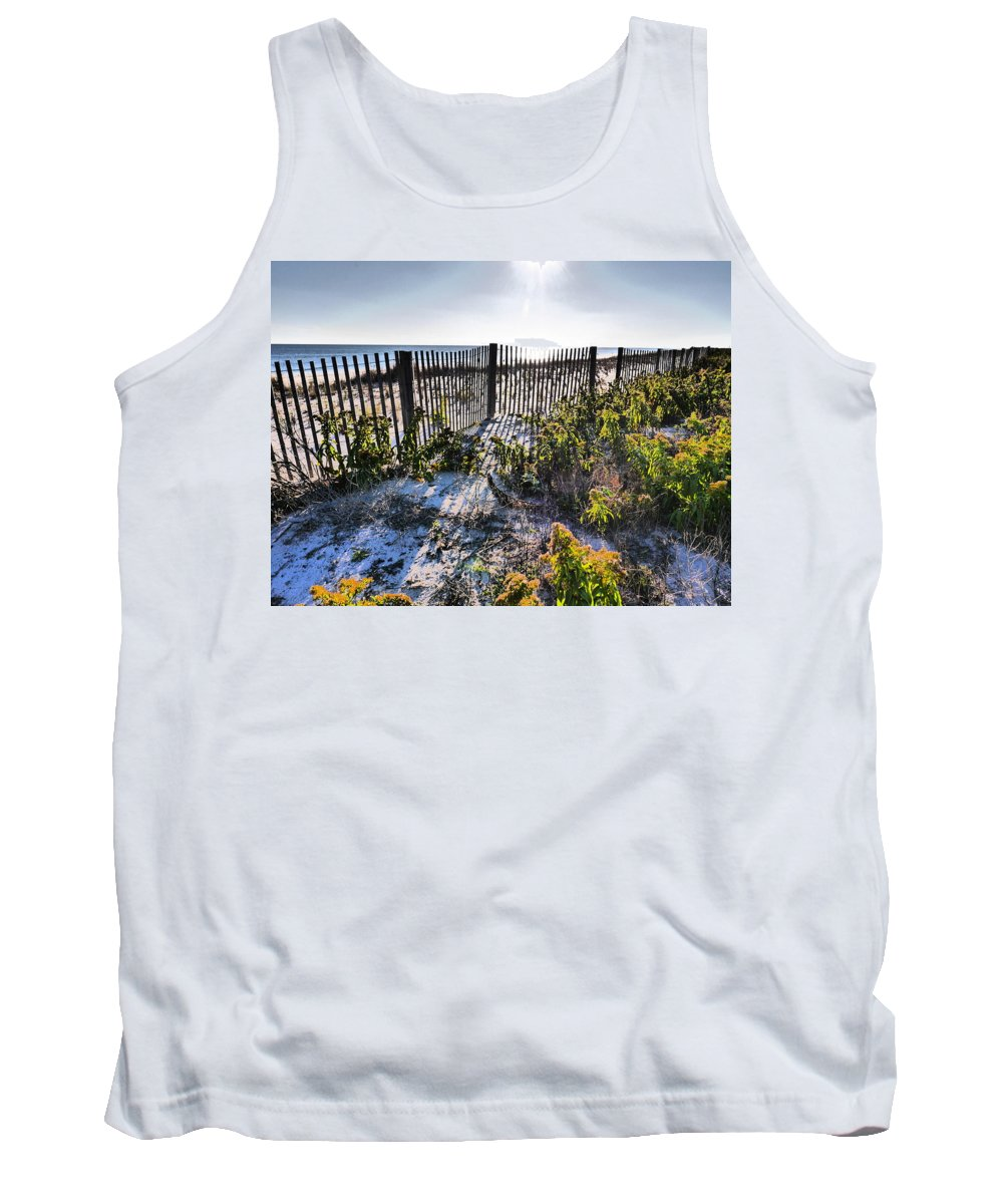 Beach Tank Top featuring the photograph Beach Flowers Before The Fence by Jack Riordan