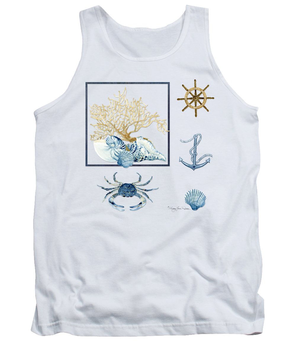 Sea Tank Top featuring the painting Beach House Nautical Seashells Ships Wheel Anchor n Crab by Audrey Jeanne Roberts