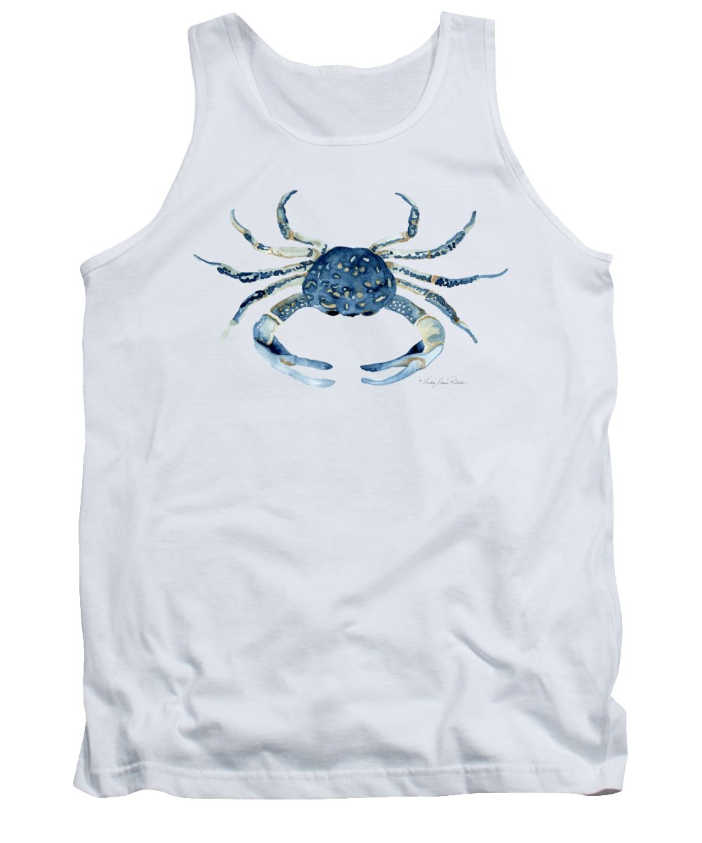 Sea Life Tank Top featuring the painting Beach House Sea Life Blue Crab by Audrey Jeanne Roberts