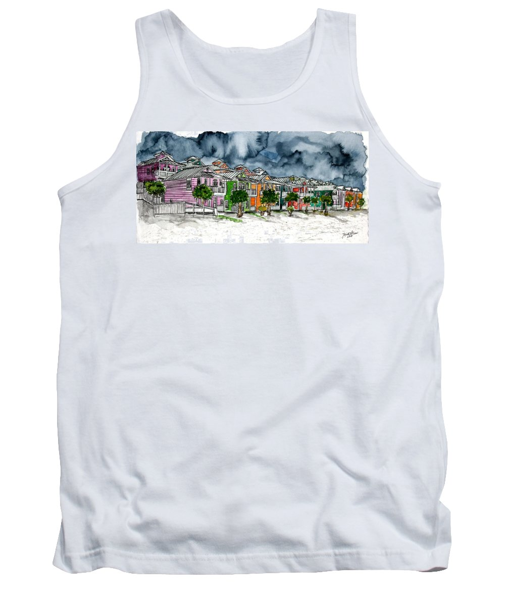 Watercolor Tank Top featuring the painting Beach Houses Watercolor Painting by Derek Mccrea