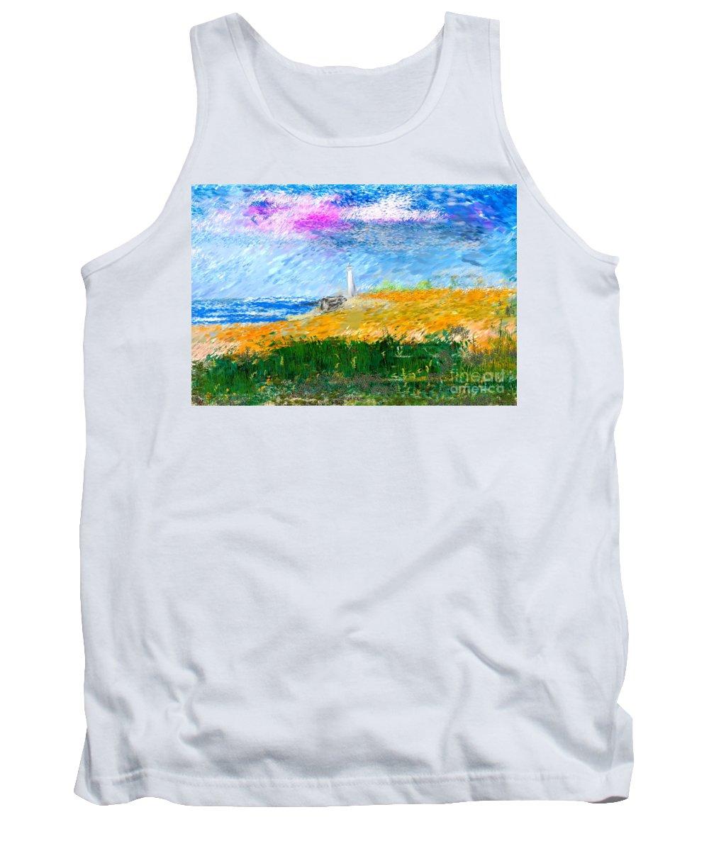 Digital Painting Tank Top featuring the digital art Beach Lighthouse by David Lane