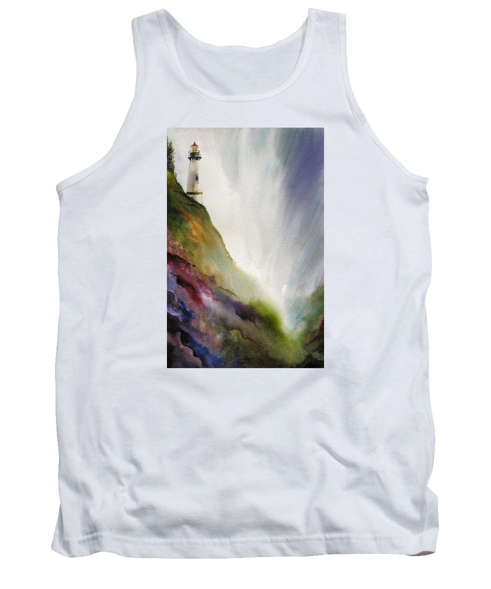 Lighthouse Tank Top featuring the painting Beacon by Karen Stark