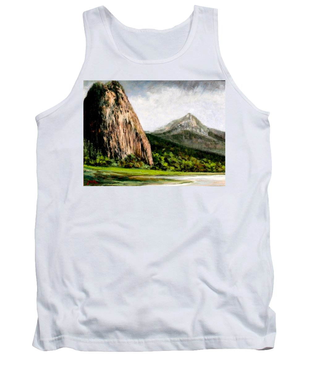 Landscape Tank Top featuring the painting Beacon Rock Washington by Jim Gola