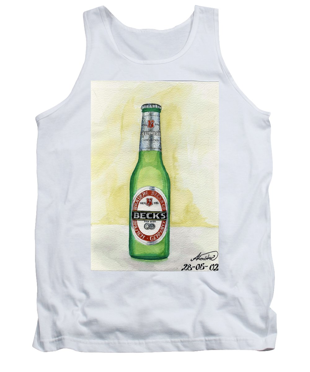 Botle Tank Top featuring the painting Becks by Alban Dizdari
