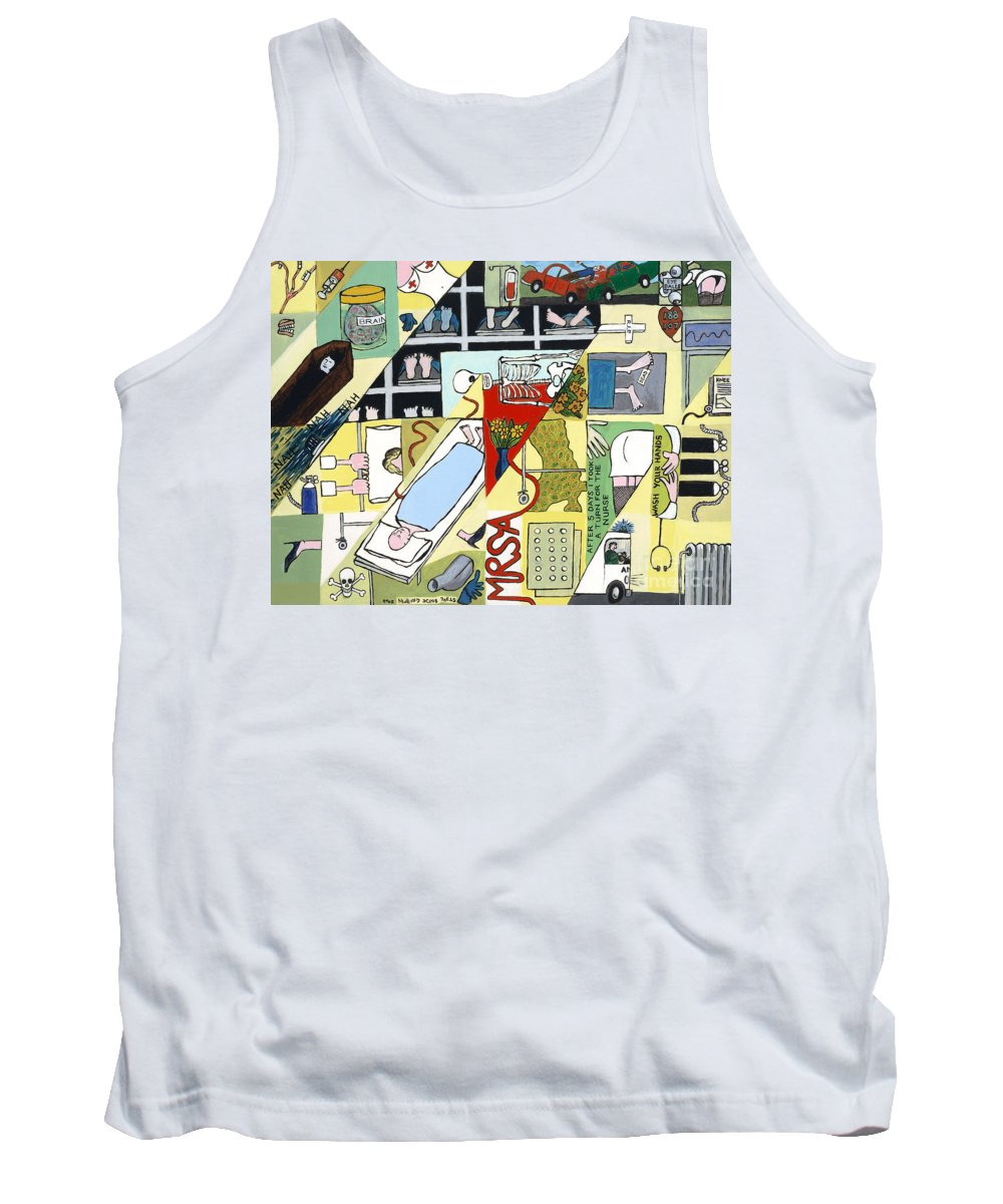 Hospital Tank Top featuring the painting Bed Pan Alley by Steve Royce Griffin