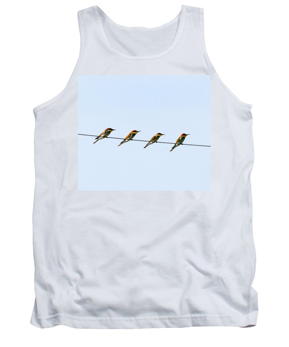 Bee Eaters Tank Top featuring the photograph Bee Eaters On A Witre by Cliff Norton