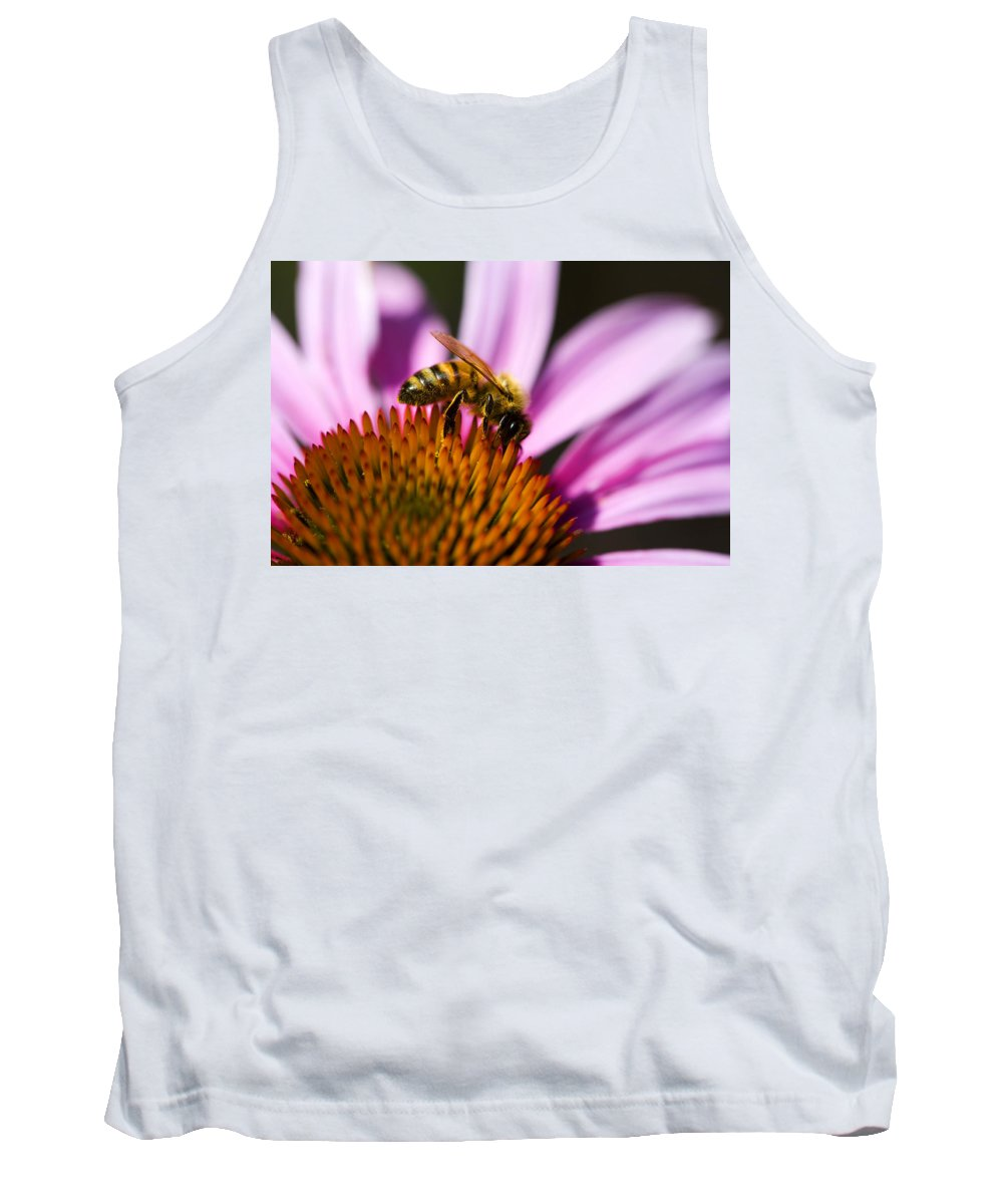 Flower Tank Top featuring the photograph Bee Feasting by Marilyn Hunt