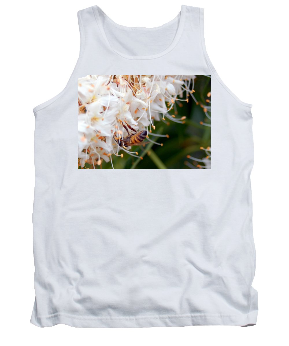 Flower Tank Top featuring the photograph Bee On Flowers 1 by Amy Fose