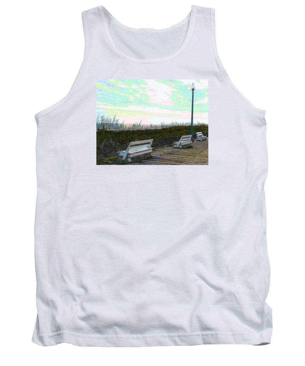 Cyan Tank Top featuring the photograph Benches Boardwalk And Lampposts 2 by Jeffrey Todd Moore