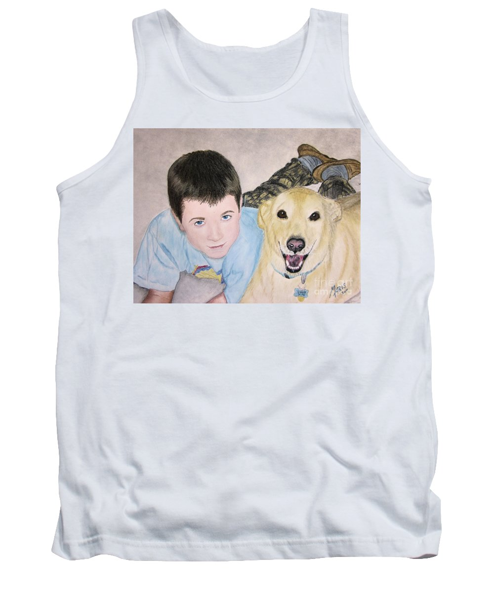 Boy Tank Top featuring the painting Best Buddies by Maris Sherwood