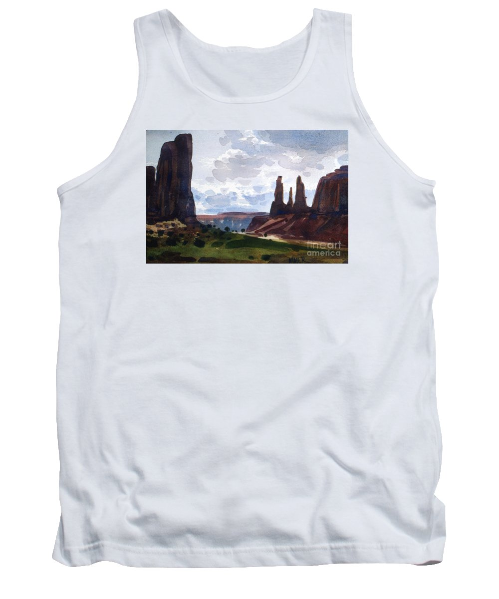 Three Sisters Tank Top featuring the painting Between The Buttes by Donald Maier