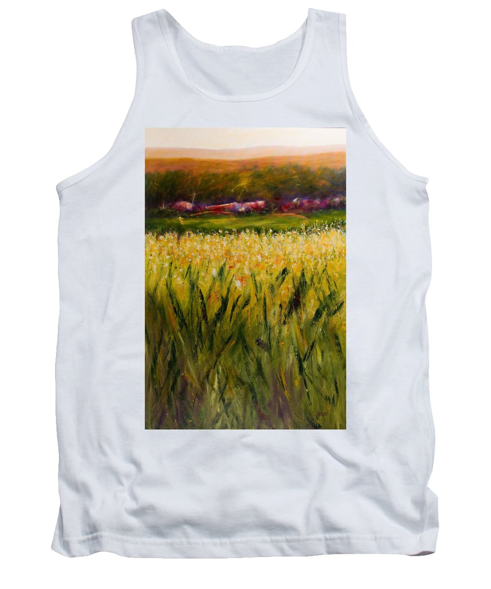 Landscape Tank Top featuring the painting Beyond The Valley by Shannon Grissom