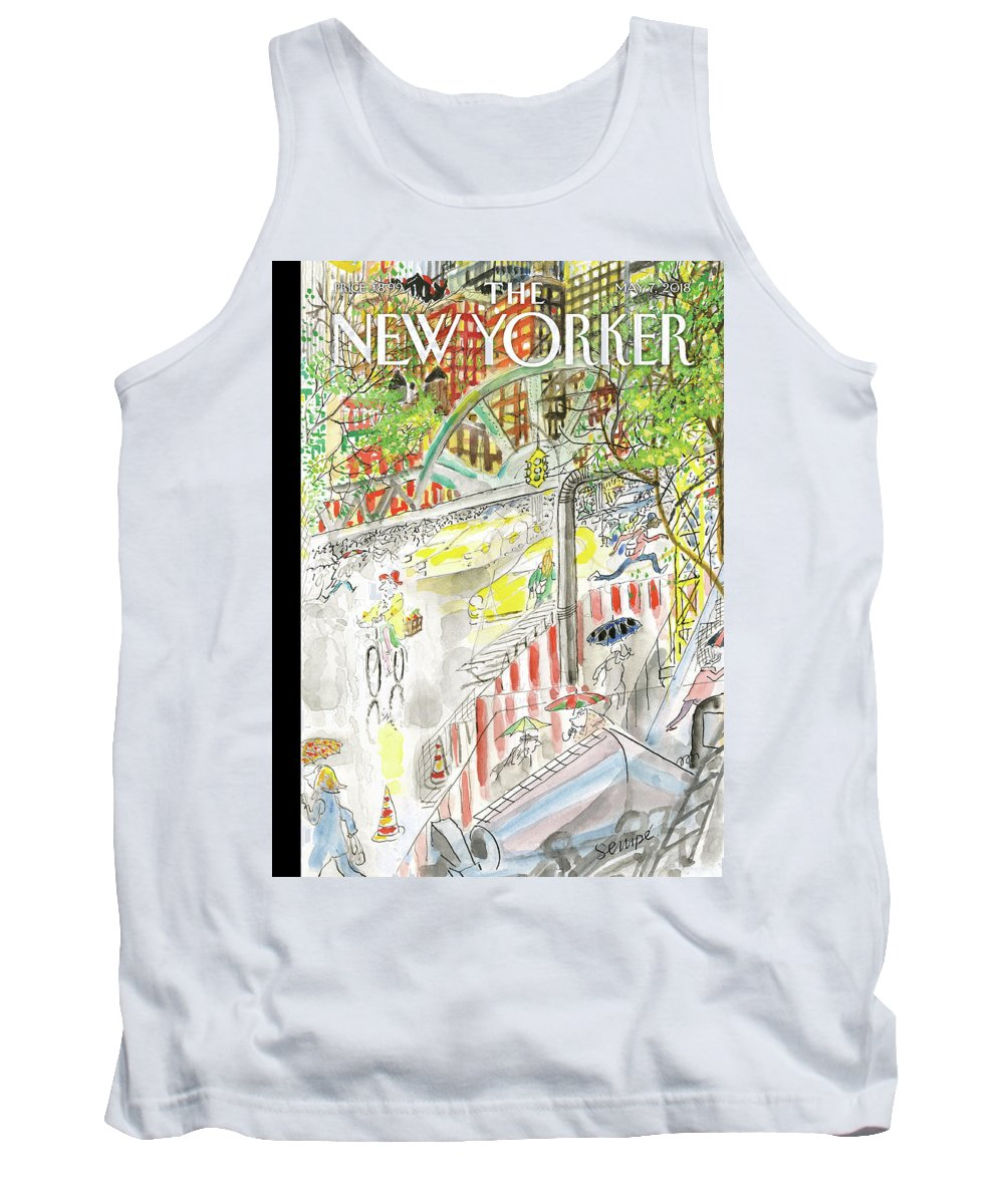 Biking In The Rain Tank Top featuring the painting Biking In The Rain by Jean-Jacques Sempe