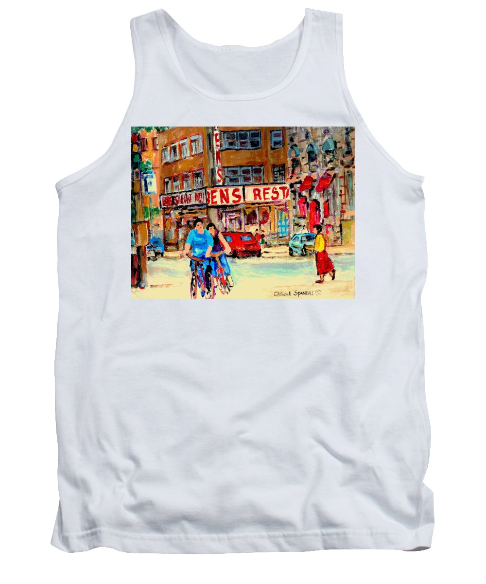 Montreal Tank Top featuring the painting Biking Past Ben by Carole Spandau