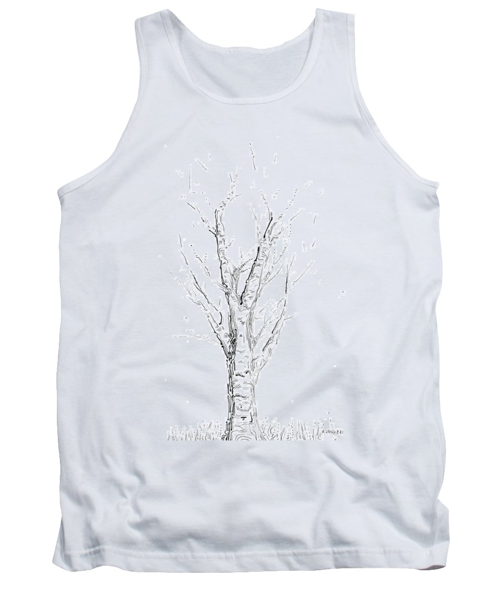 Tree Tank Top featuring the drawing Birch Abstraction Study by Regina Valluzzi