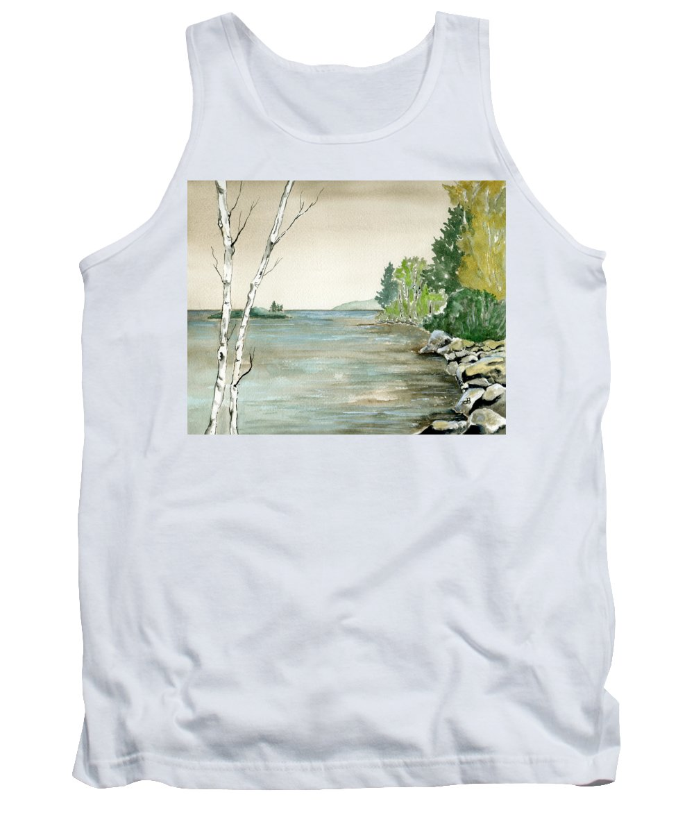 Landscape Watercolor Birches Trees Lake Pond Water Sky Rocks Tank Top featuring the painting Birches By The Lake by Brenda Owen