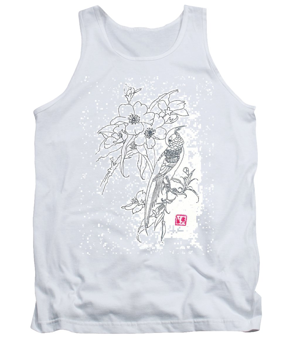 Bird Tank Top featuring the drawing Bird And Flowers by Michael Vigliotti