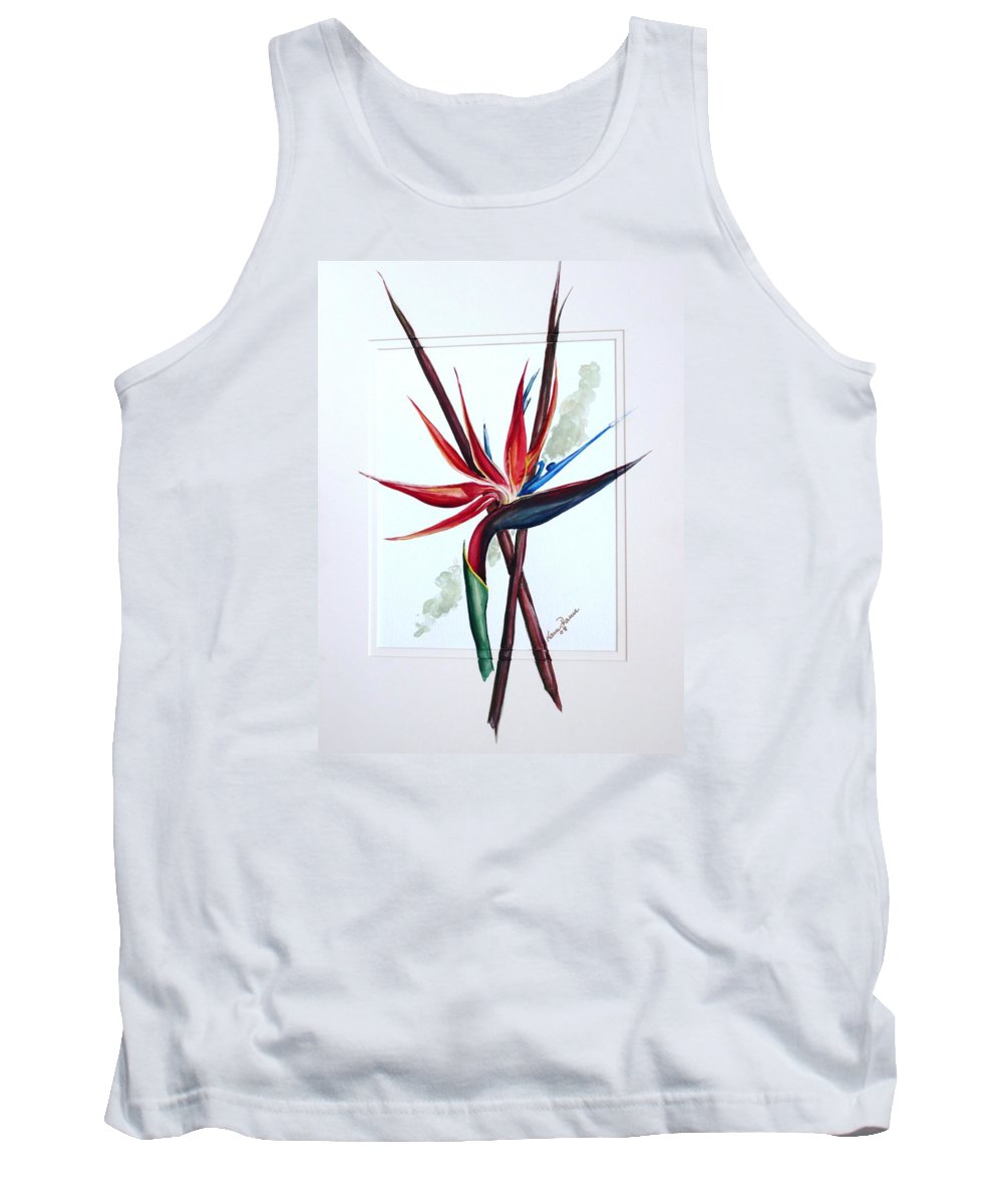 Floral Tropical Caribbean Flower Tank Top featuring the painting Bird Of Paradise Lily by Karin Dawn Kelshall- Best