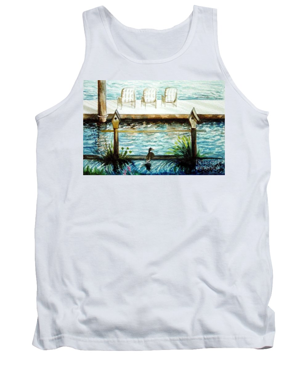 Birdhouse Tank Top featuring the painting Birdhouse Haven by Elizabeth Robinette Tyndall
