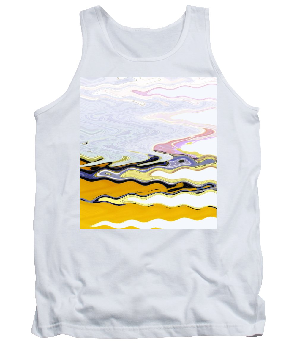 Abstract Tank Top featuring the digital art Birds And Beach by Lenore Senior