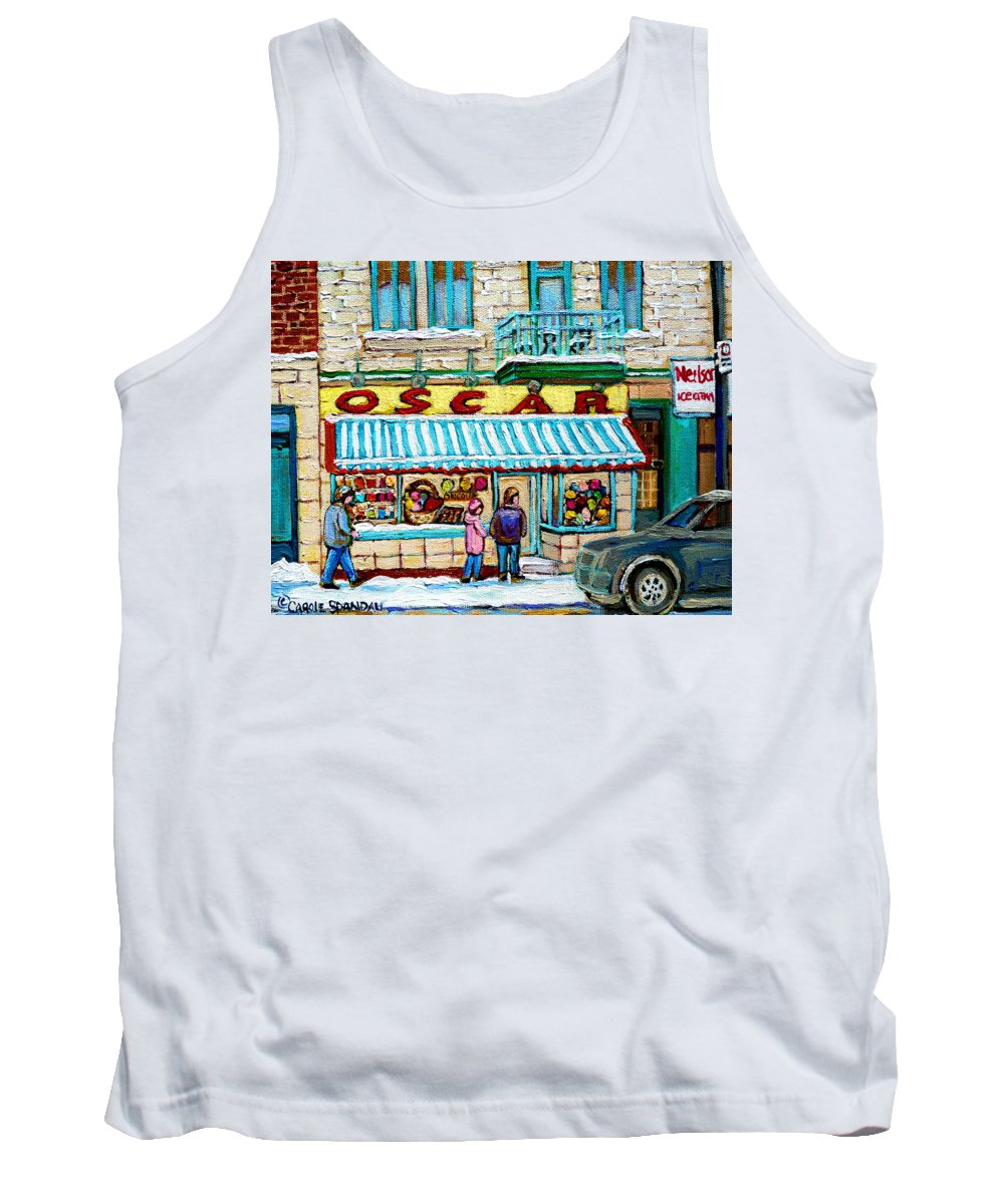 Biscuiterie Oscar Tank Top featuring the painting Biscuiterie Oscar Rue Ontario by Carole Spandau