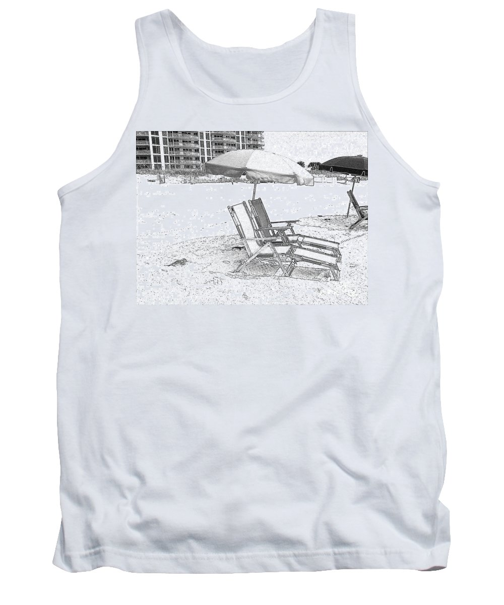Black And White Tank Top featuring the photograph Black And White Beach Chairs by Michelle Powell