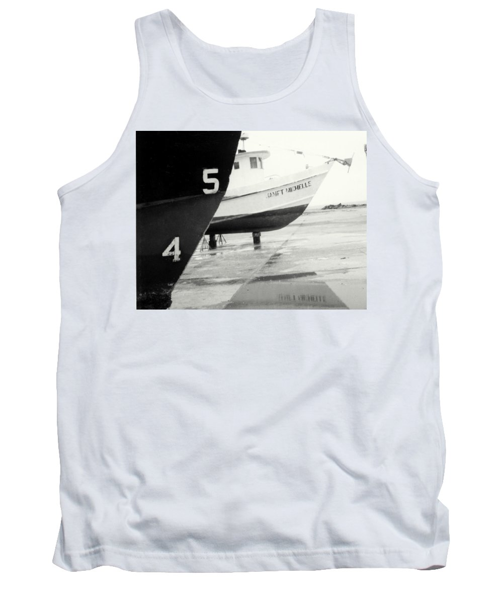 Boat Reflection Black And White Tank Top featuring the photograph Black And White Boat Reflection by Cindy New
