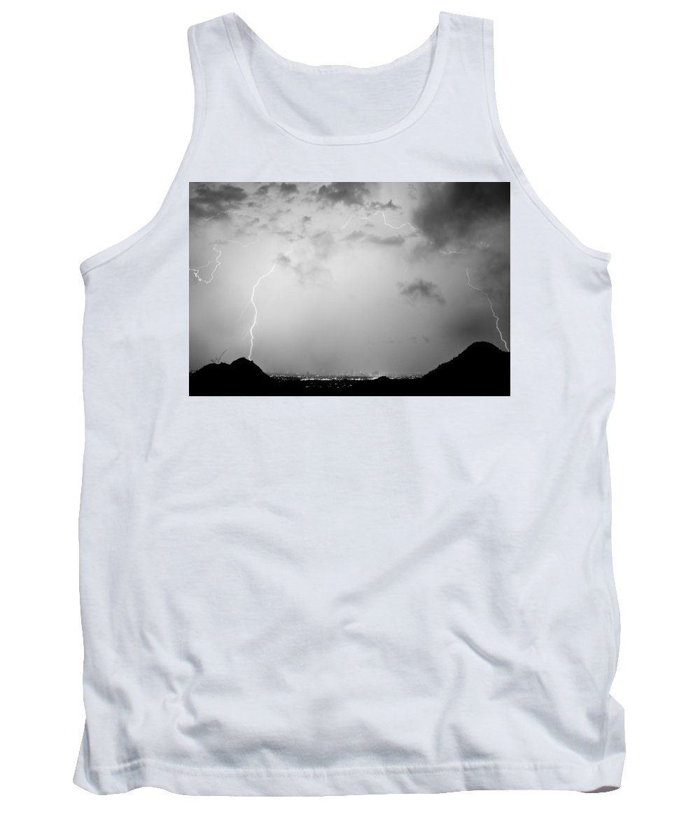Lightning Tank Top featuring the photograph Black And White Lightning Dome Over City Lights by James BO Insogna