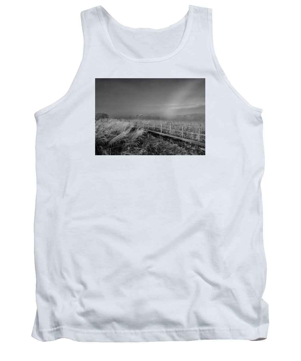Black And White Tank Top featuring the photograph Black And White Misty Morning October by Leif Sohlman