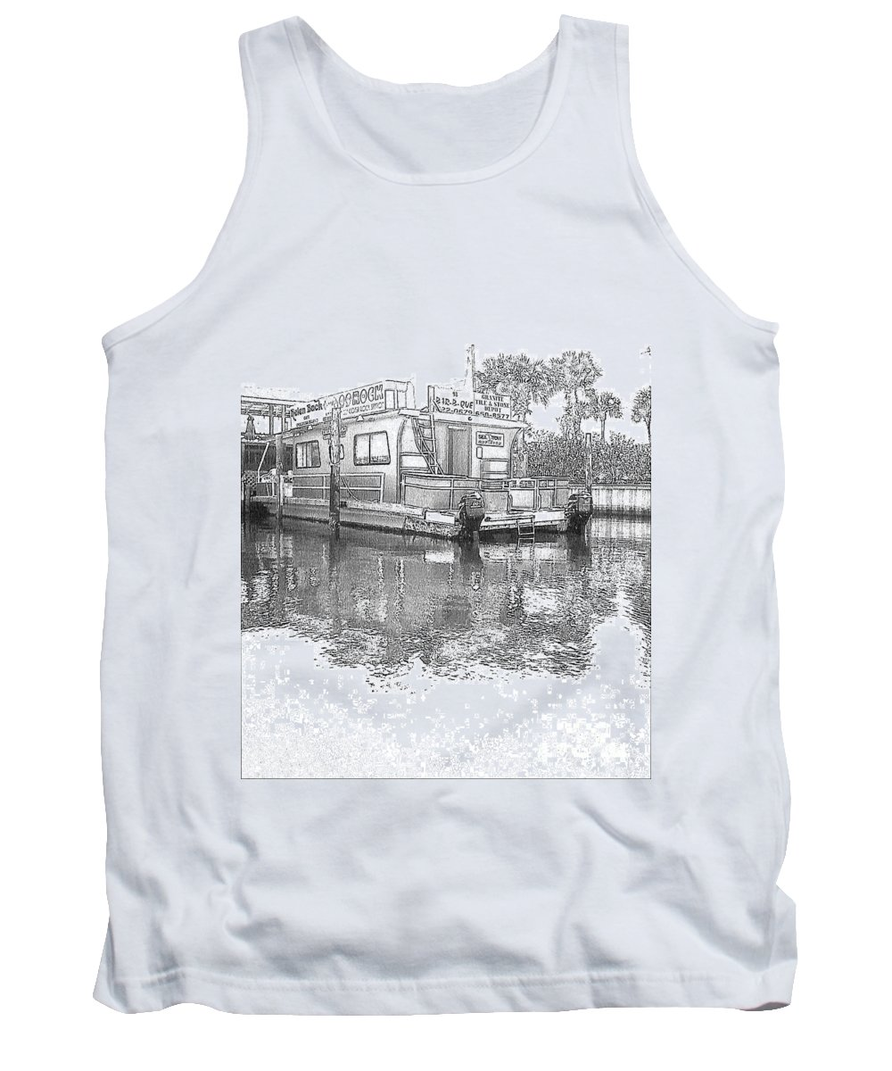 Black And White Tank Top featuring the photograph Black And White Party Boat by Michelle Powell